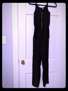 Woven cufded bottom zip bodice woven jumpsuit